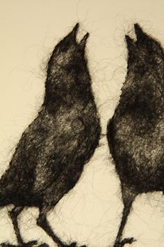 "By Stephanie Metz....Bird ""drawings"" made with wool fibers onto paper"