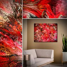 """SOLD. """"Crimson Tide"""", is my latest abstract! Thank you to Doug Maxwell for creating the perfect name. Check out closeups of it and all available artwork on my site at TimWebb.com.❤️"""
