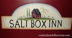 Hand painted sign wooden sign Salt box Inn by countrylanefolkart, $40.00