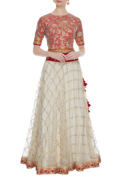 Shop Divya Kanakia Red & off-white net embroidered lehenga set , Exclusive Indian Designer Latest Collections Available at Aza Fashions Choli Designs, Kurta Designs Women, Lehenga Designs, Blouse Designs, Half Saree Lehenga, Red Lehenga, Long Anarkali, Indian Designer Outfits, Designer Dresses