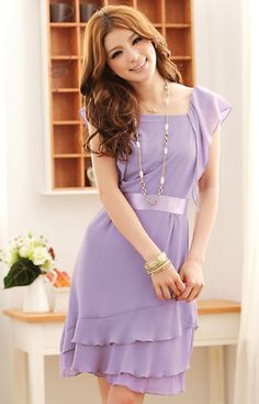 Wholesale Cute & Charming Pure Color Lotus Leaf Sleeve Waist Shaping Dress----Purple  top dresses