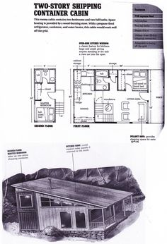 shipping container floorplan from 'Compact Cabins: Simple Living in 1000 Square Feet or Less' by Gerald Rowan