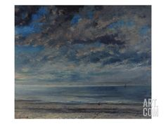 La Plage, Soleil Couchant, 1867 Art Print by Gustave Courbet at Art.com
