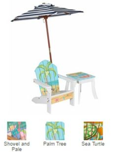 Outdoor Chair with Umbrella and Side Table - Palm Tree - For the ultimate in outdoor comfort, this chair comes with an umbrella and a side table and is crafted of solid wood. Put on some shades, pour a tall glass of lemonade and enjoy the great outdoors. A Great Outdoor Furniture set.