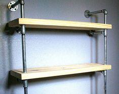Salle de bain tablettes - Pipe étagères - mobilier industriel - salle de bains étagère - rangement salle de bain