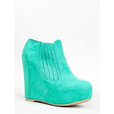 WORTHY-127A Wedge Bootie ($33) ❤ liked on Polyvore featuring shoes, boots, ankle booties, mint, sexy boots, wedge boots, sexy wedge boots, ankle boots and qupid booties