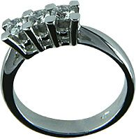 Italian Finest Ladies Rings TRILOGY DIAMONDS RING 18 Ct White Gold 0.90 Ct Diamond