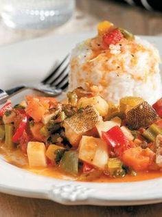bakaliaros-me-laxanika Greek Recipes, Potato Salad, Curry, Pork, Health, Ethnic Recipes, Sweet, Gastronomia, Kale Stir Fry