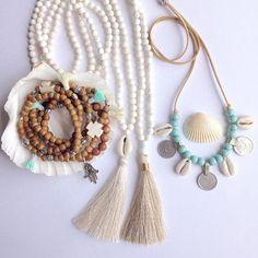 beachcomber etsy shop beach bohemian jewelry tassel necklace shells sandalwood tassel bracelets
