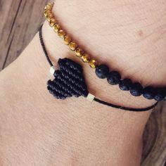 #macrame #blackheart #lavabeads #hematite #neverendingcreations Black Heart, Lava, Macrame, Handmade Jewelry, Beads, Bracelets, Instagram, Fashion, Beading