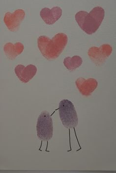 finger print hears and birds Valentine Crafts For Kids, Valentine Day Wreaths, Valentines Day Decorations, Flowers For Everyone, Rooftop Wedding, Arts And Crafts, Diy Crafts, Paper Hearts, Craft Activities