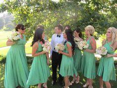 Mint two birds bridesmaid dress