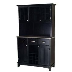 Large Wood Bakers Rack with Two Door Hutch Color-Material - Stainless Steel $579.98