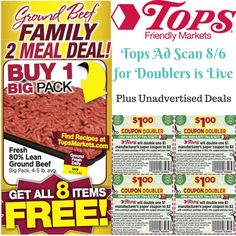 WOOHOOO!!!  🤗🤗🤗Get ready for Tops Doublers starting 8/6!!! ▶️ Print your doublers, see the full Ad Scan, plus some unadvertised deals all on one page!! --> http://www.couponsforyourfamily.com/tops-ad-scan-tops-weekly-ad-preview/ 🤑 Get the full list of Tops Sneak peek deals every week by joining our Tops Newsletter-- subscribers have had access to the full list of Doubler items since Tues!!! --> http://forms.feedblitz.com/6xe