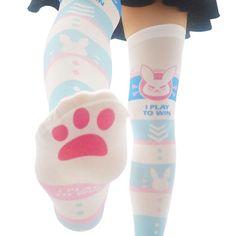 Overwatch cos socks YC21573 Long Socks For Girls, Hanna, Cute Cat Face, Over Knee Socks, Blue Bunny, Lolita, Velvet Color, Cosplay, Boy Costumes