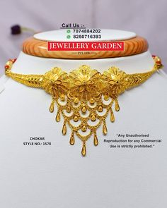 Gold Chain Design, Gold Bangles Design, Gold Jewellery Design, Indian Jewelry Earrings, Rose Gold Jewelry, Gold Choker Necklace, Maharashtrian Jewellery, Lahenga, Chocker