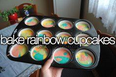 Bake rainbow cupcakes.
