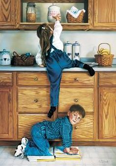 """""""Partners In Crime"""" by Tom Sierak: Mischievous sister and brother carrying out a 'raid' on mom's cookie jar. From a pastel painting by Tom Sierak. Norman Rockwell Art, Illustration Art, Illustrations, Baby Kind, Partners In Crime, Beautiful Paintings, Pastel Paintings, Romantic Paintings, Beautiful Children"""