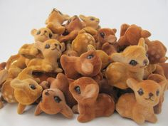 All the deers. 100 pieces  FLOCKED FAWN  Vintage by PARTSandSUPPLIES on Etsy, $120.00