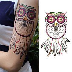 Oottati Dream Catcher Myopia Owl Key Thigh Temporary Tattoo