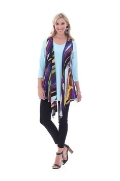 NWT Parsley & Sage Marlee 6T24F Multi-way Vest Black Purple Aqua Print M-3X  #ParsleySage #KnitTop #Casual