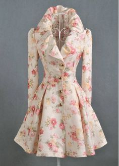 Attractive Flower Print Long Sleeve Turndown Collar Trench Coats