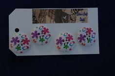 Buttons Four Flower Printed Wooden Buttons £1.65