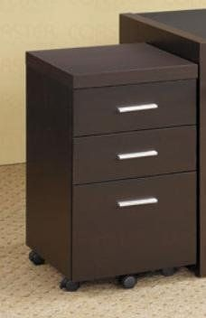 Coaster 800903 Dark Brown Drawer Unit by Coaster Home Furnishings. $99.86. Dark cappuccino finish. Contemporary style. Silver accent hardware pulls. 15.75 in. W x 15.75 in. D x 26.75 in. H. Drawers provides space for storing papers, office supplies and important documents. Add this three drawer file cabinet to your home office for functional storage in a contemporary package. Three drawers accented with simple metal bar drawer pulls provide plenty of space for...