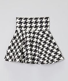 Another great find on #zulily! Black & White Houndstooth Circle Skirt - Girls #zulilyfinds