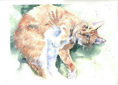 Custom pet portrait in watercolor