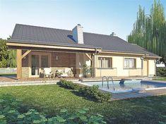 Projekt domu parterowego AJR_03_A1 o pow. 98,6 m2 z garażem 1-st., z dachem dwuspadowym, z tarasem, sprawdź! House Plans, Farmhouse, House Design, Top Top, Outdoor Decor, Home Decor, Small Farm Houses, Blueprints For Homes, Homemade Home Decor