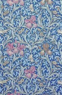 'Iris' textile design by John Henry Dearle, produced by Morris  Co in 1887 __ posted on flickr by John Hopper, for The Textile Blog