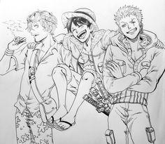 One Piece, Luffy, Zoro, Sanji
