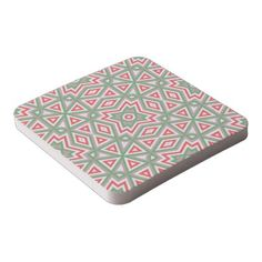 #Red Green White Taupe Eclectic Ethnic Look Square Paper Coaster - #vintage #style