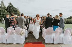 Malone House outdoor ceremony Belfast Wedding Photographer Pure Photo N.I processional bride and groom