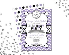 Volleyball Birthday Party Invitation  Chevron by BeccaLeePaperie