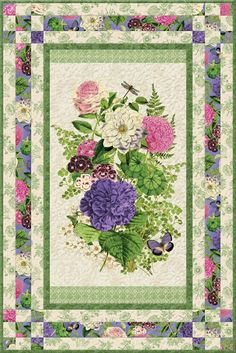 Kit includes fabrics from the Flower Show collection by Anne Rowan for Wilmington Prints for the quilt top, binding, and backing. Instructions are also included. Wall Quilt 37