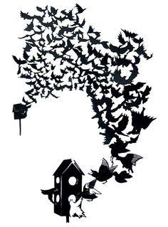 Starling (cut paper) Lorraine Nam