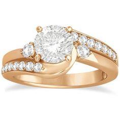Allurez Swirl Design Diamond Engagement Ring Setting 14k Rose Gold... ($1,335) ❤ liked on Polyvore featuring jewelry, rings, rose, rose gold rings, rose ring, pink ring, pink engagement rings and 14k diamond ring