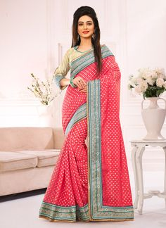 #Red Jacquard,Viscose #Satin #Designer #Saree #nikvik  #usa #designer #australia #canada #freeshipping #dress #saris