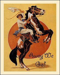 "Cowgirl Theme fitting many 'Sisters on the Fly' Travel Trailer/Canned Ham Decor. Vintage Cowgirl Print on a Rearing Horse that says ""Away We Go!"" Pssst... ""Like"" Trailer Trash Gals on Facebook. 
