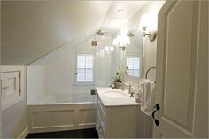 Remodel small bathroom with sloped ceiling attic bathroom design pictures remodel decor and ideas remodel small Sloped Ceiling Bathroom, Small Attic Bathroom, Bathroom Niche, Slanted Ceiling, Upstairs Bathrooms, Bathroom Closet, Small Bathrooms, Bathroom Ideas, Garage Bathroom