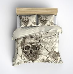 Featherweight Skull Bedding -  Sugar Skull and Flowers on Cream - Comforter Cover - Sugar Skull Duvet Cover, Sugar Skull Bedding Set by InkandRags on Etsy https://www.etsy.com/listing/246068975/featherweight-skull-bedding-sugar-skull