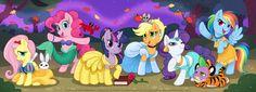 If the mane six were princesses Snow white:fluttershy Ariel:pinkie pie Belle:twilight sparkle Cinderella:apple jack Jasimne:rarity Spike:jasimnes tiger (i forget the name) Pochauntus:rainbow dash Mlp My Little Pony, My Little Pony Friendship, Fluttershy, Rainbow Dash, Alternative Disney Princesses, Little Poni, My Little Pony Merchandise, Imagenes My Little Pony, Nyan Cat