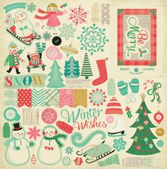Crate Paper. All Bundled Up line. Love those snowmen, the colors, and the vintage vibe.