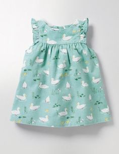 This pretty pinafore is perfect for dressing your little one on special occasions. The duck and riverbank prints are sure to have the grown-ups cooing – and just wait till they see those ruffles. It's lined for extra cosiness and you can pair it with a body on chillier days.