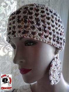 CROCHET 1 HAT DAILY! Day 292 AWE!Some Crochet by Gina Renay #cotton #beach #spring #summer #natural #cool #hat #earrings #crochet