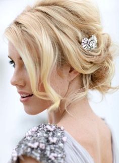 Bride's messy #chignon #updo #hair ideas ToniK #Wedding #Hairstyles ♥ ❶
