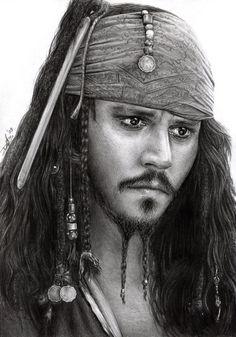 Captain Jack Sparrow by D17rulez {Daisy van den Berg of the Netherlands} on deviantART ~ POTC traditional pencil art