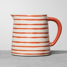 Hearth & Hand with Magnolia Stoneware Pitcher - Coral Stripe / Target / fixer upper / joanna gaines / Chip Gaines, Chip And Joanna Gaines, Ceramic Pitcher, Ceramic Painting, Ceramic Art, Rustic Charm, Vases Decor, Organizer, Hearth